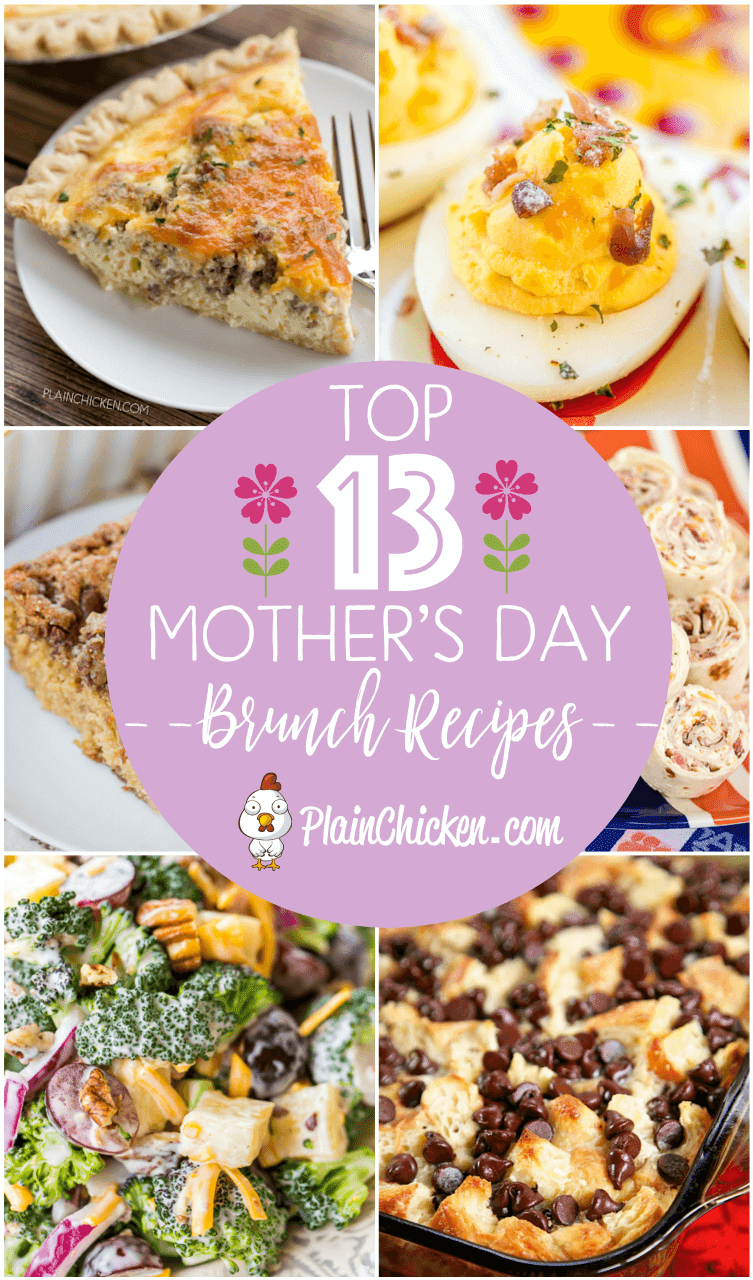 Top 13 Recipes for Mother's Day Brunch - show Mom how much you appreciate her with a delicious brunch! Breakfast casseroles, quiches, desserts, salads and sandwiches. Something for every Mom. All the recipes are easy enough for the kids to help make! #mothersday #kidfriendly #brunch
