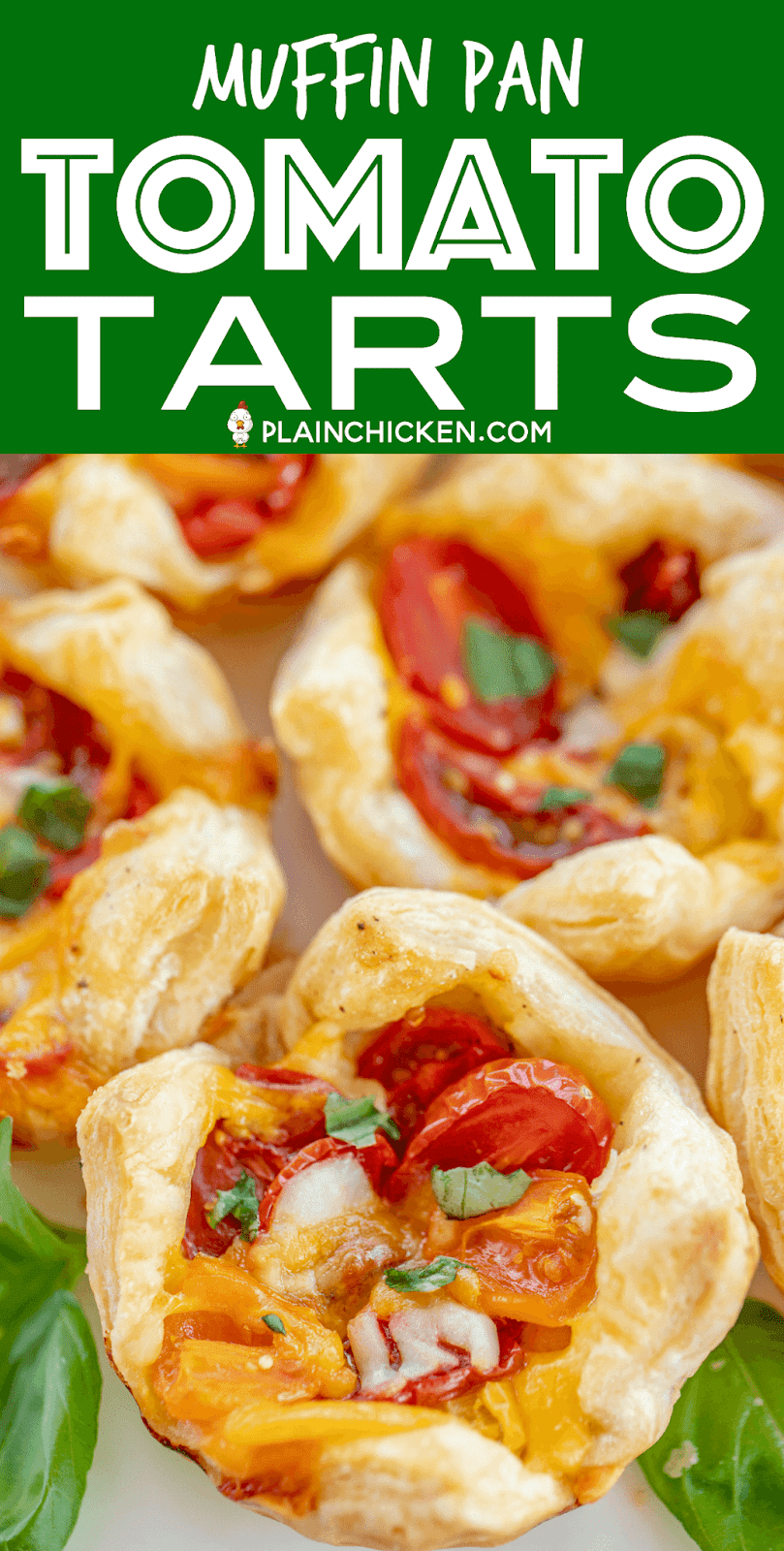 Muffin Pan Tomato Tarts - quick and delicious side dish or appetizer. Multi-colored cherry tomatoes make for a beautiful presentation. Puff pasty, mayonnaise, salt, pepper, cherry tomatoes, cheddar cheese, mozzarella cheese, basil. Can make ahead and refrigerate until ready to bake. Great for dinner parties! #tomatoes #appetizer #sidedish #tomato #basil