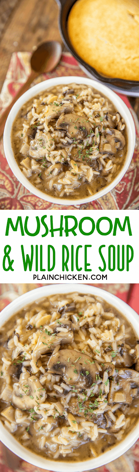 collage of 2 photos of mushroom and wild rice soup