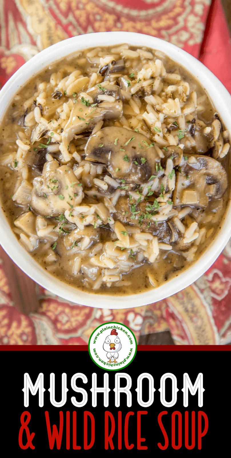bowl of mushroom wild rice soup