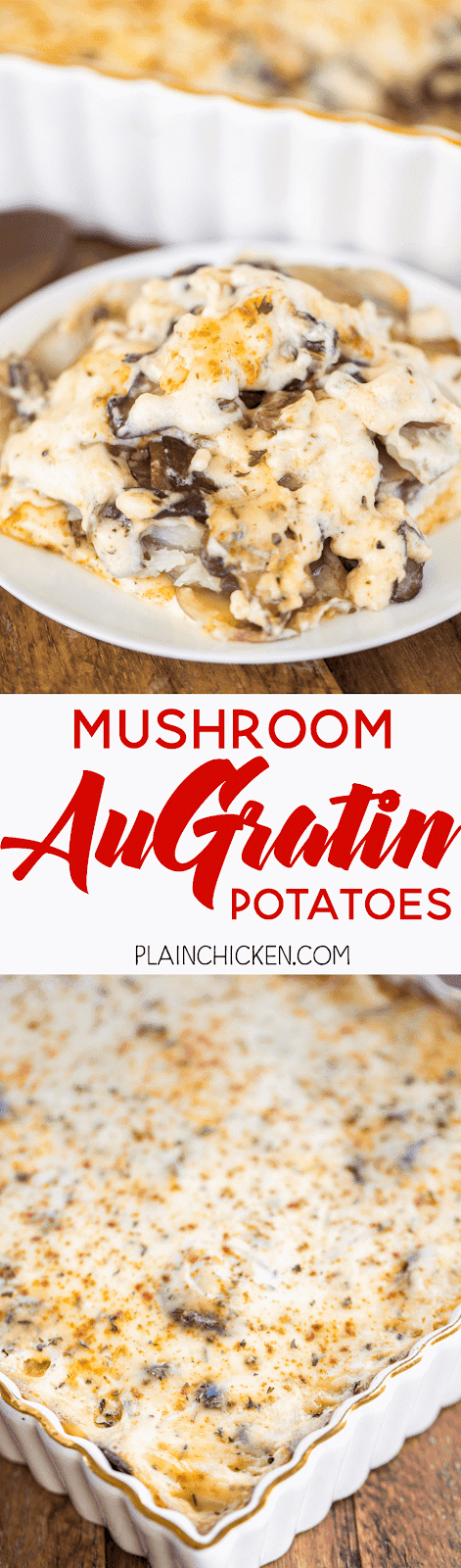 Mushroom Au Gratin Potatoes - AMAZING side dish!!! Mushrooms, potatoes and a homemade Gruyere cheese sauce. Comes together in minutes! Great for a dinner party or potluck. A real crowd pleaser!!