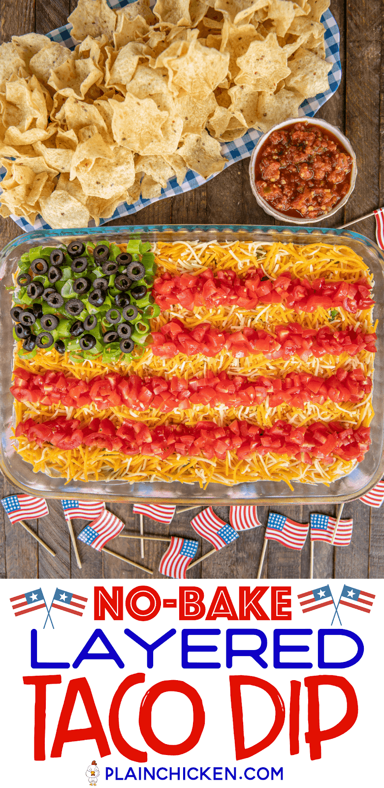taco dip in shape of flag with chips and salsa