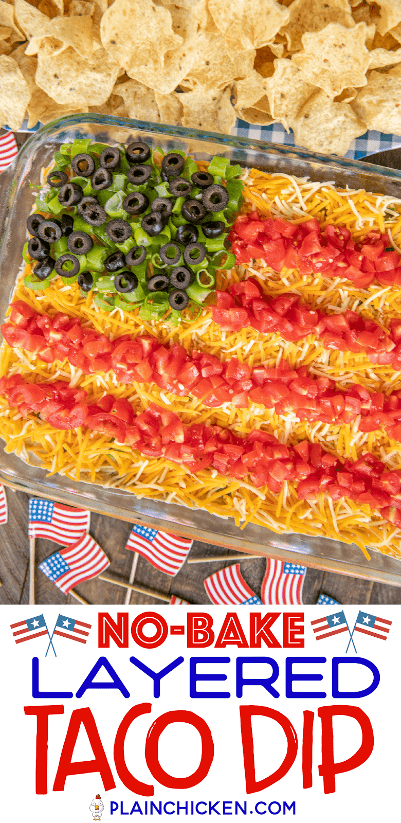 taco dip in 9x13-inch pan with chips