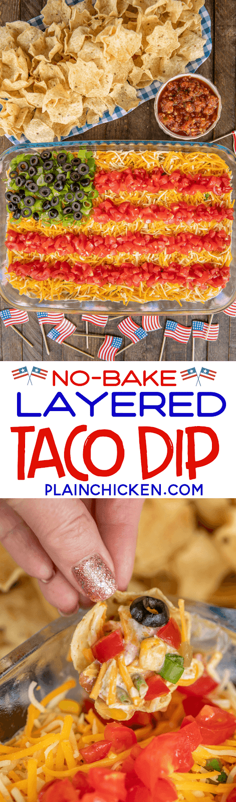 taco dip in shape of a flag with chips and salsa