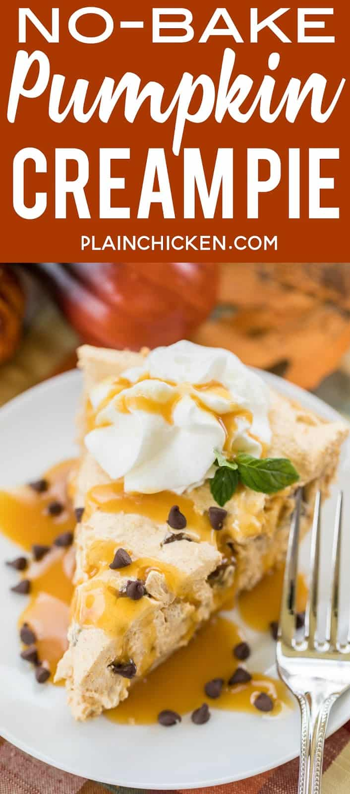 No-Bake Pumpkin Cream Pie - this dessert is to-die-for good!! Only takes a minute to make. Perfect for fall parties and Thanksgiving dinner. Pudding, pumpkin, pumpkin spice, chocolate chips, almonds, cool whip in a graham cracker crust. Top pie with whipped cream and caramel sauce. This is CRAZY good! #easy #dessert #pumpkinpie