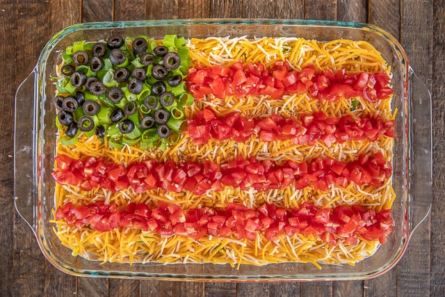 taco dip in shape of flag
