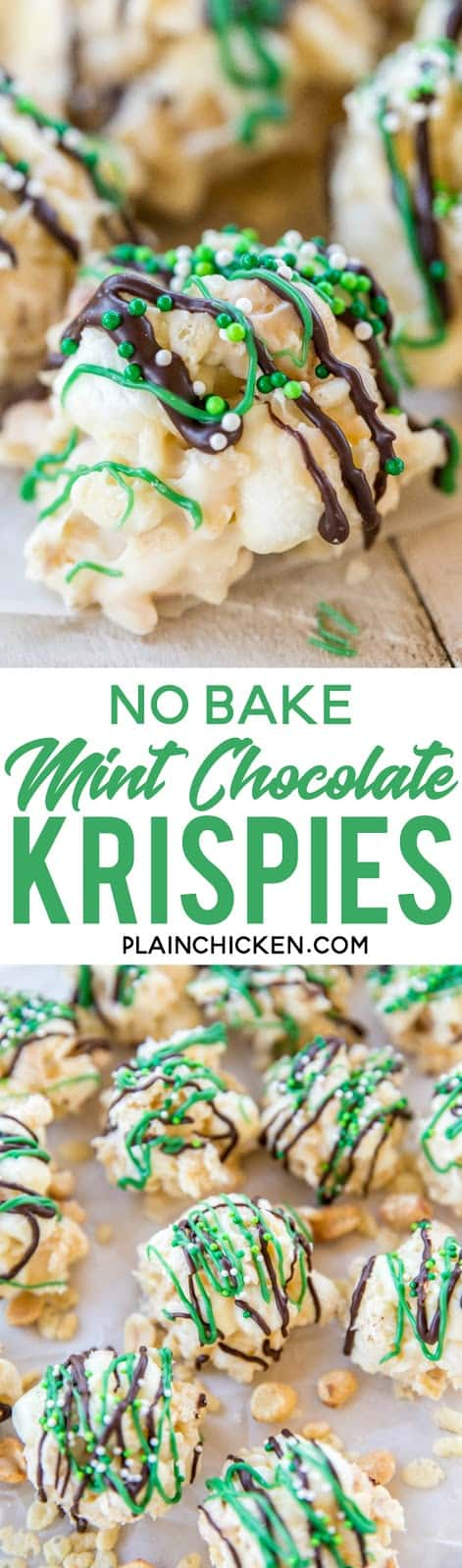 No-Bake Mint Chocolate Krispies - only 5 ingredients and 5 minutes! These are dangerously delicious! Drizzle with melted chocolate and green candy melts for a festive St. Patrick's Day treat!! Almond bark, peppermint oil, rice krispies, peanuts and marshmallows. #nobake #stpatricksday #candy #easydessert