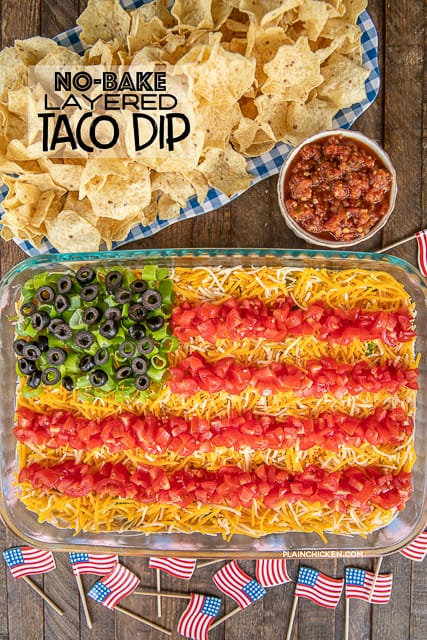 dip in baking dish with chips
