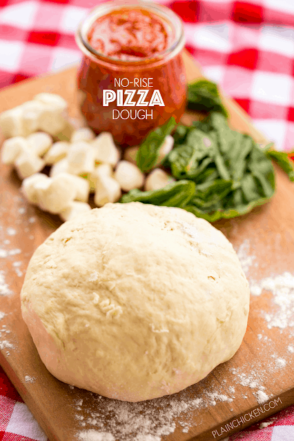 No-Rise Pizza Dough - only 5 ingredients! Just mix together and it is ready to bake. Great weeknight recipe. SO much better than takeout!!! Flour, baking powder, salt, milk and butter. We make this at least once a week! Great recipe!