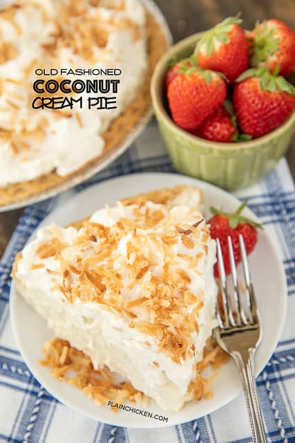 coconut pie on a plate with strawberries