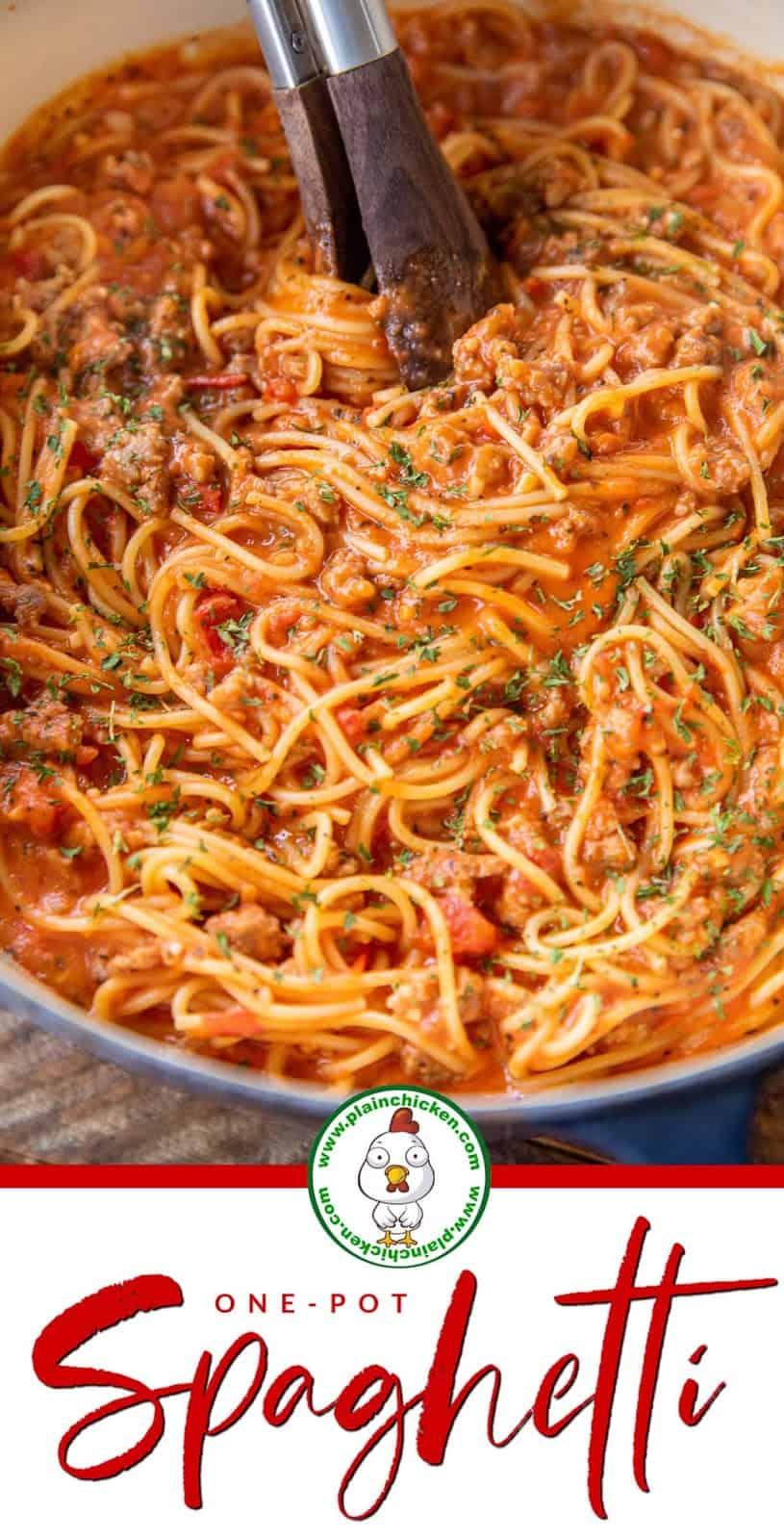 sauce pan full of spaghetti and sauce