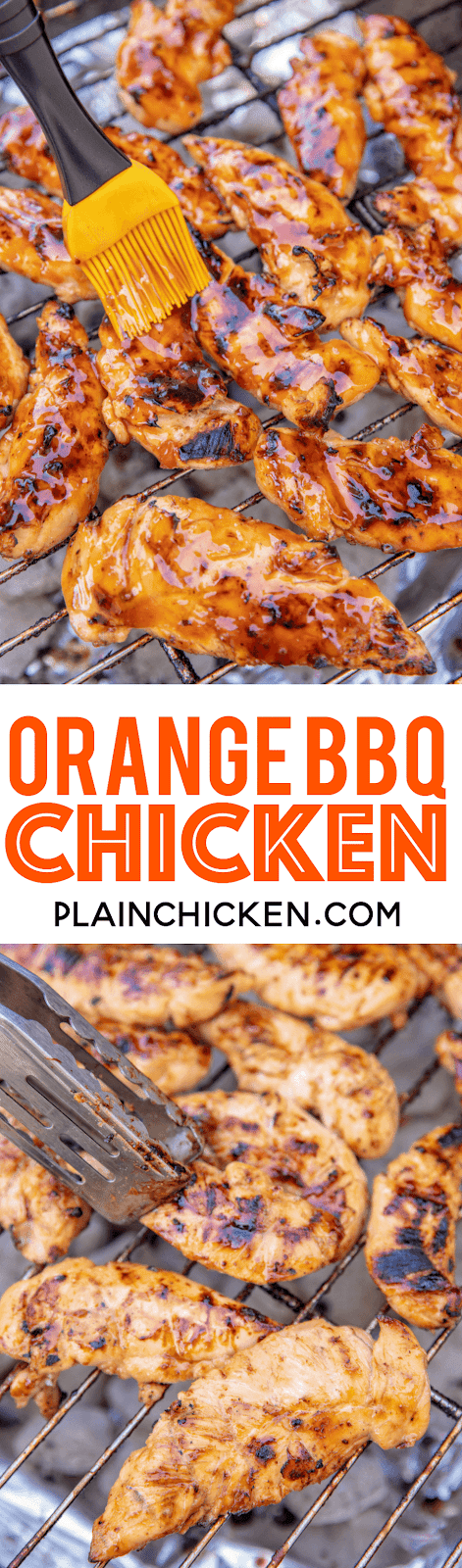 Orange BBQ Chicken - only 4 ingredients! SO good!!! We actually made it twice in one week. Orange juice, brown sugar, BBQ sauce and chicken. Such an easy weeknight meal. Leftovers are great in a wrap or on top of a salad! Great meal prep recipe!! #chicken #grill #grilling #grilledchicken #bbq