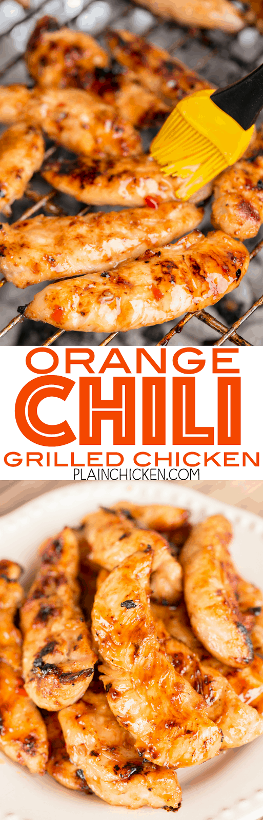 Orange Chili Grilled Chicken - seriously delicious! Only 4 ingredients! Chicken, sweet chili sauce, honey and orange juice. Grill and baste with reserved sauce. SO much great flavor!!! We always double the recipe for leftovers - great on a salad or in a wrap. We LOVE this easy chicken marinade recipe!!!