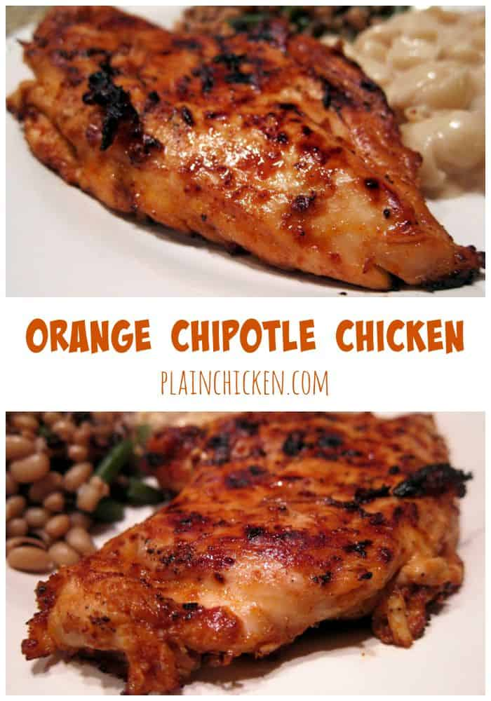 Orange Chipotle Chicken Marinade - orange juice, honey and chipotles - packed full of flavor! Can grill chicken or pan sauté for a quick and healthy dinner.