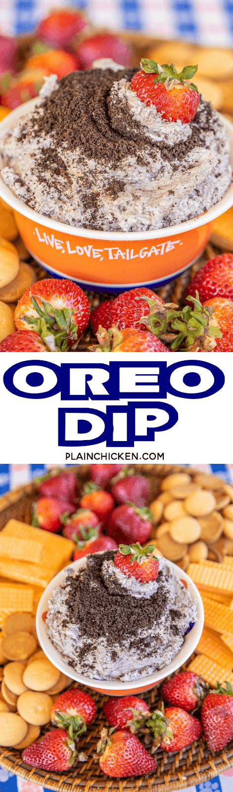 collage of two photos of oreo dip in a bowl
