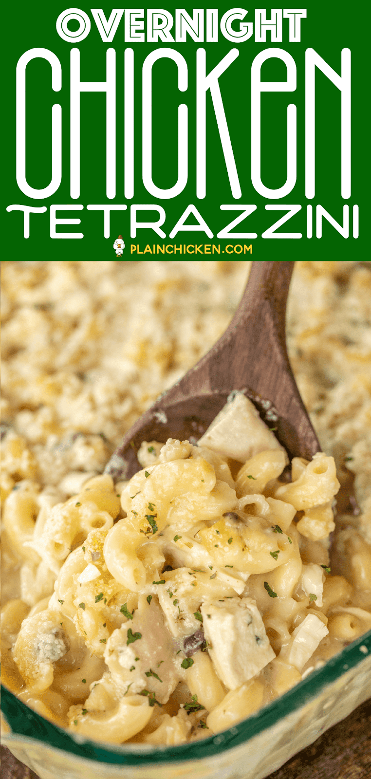 Overnight Chicken Tetrazzini - a new family favorite! It is on repeat in our house! Just dump everything in the casserole dish and refrigerate overnight. No boiling the noodles. They will soften overnight and be cooked to perfection in the finished dish. Chicken, cream of chicken, cream of mushroom, milk, chicken broth, onion, garlic, elbow macaroni and parmesan cheese. Use a rotisserie chicken for quick prep. #casserole #chicken #kidfriendly #noboil
