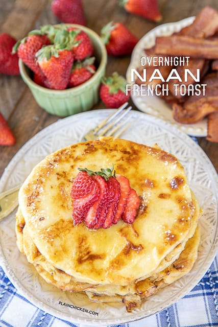 naan bread french toast on a plate
