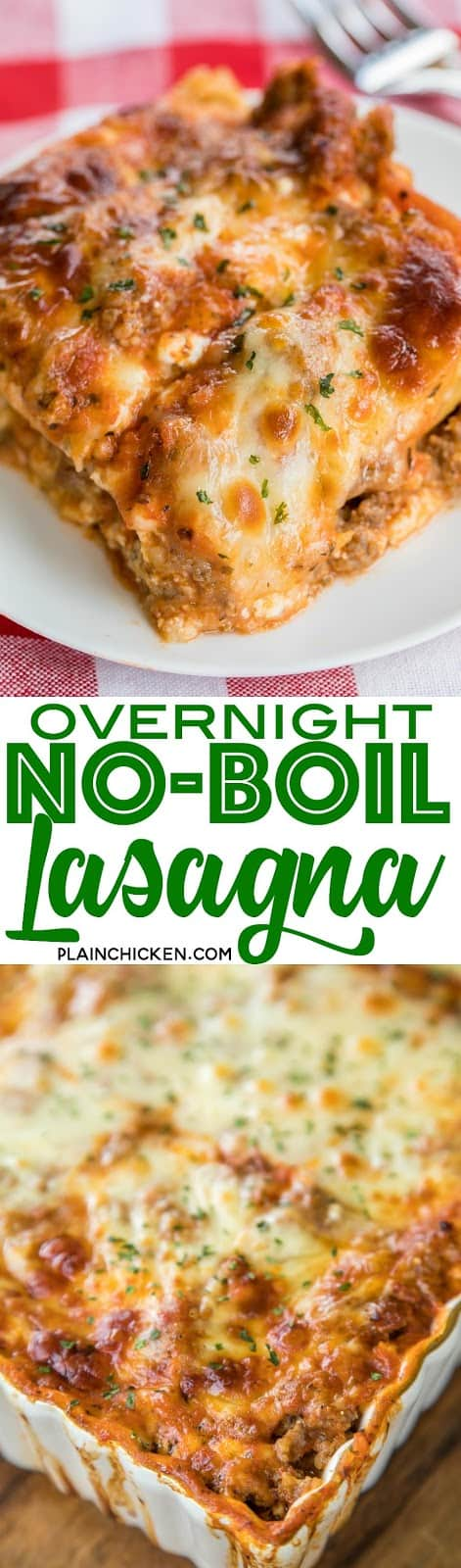 """Overnight No-Boil Lasagna - seriously THE BEST lasagna we've ever eaten!!! SO easy to make and you don't have to boil your noodles! The noodles """"cook"""" overnight and are perfect. Lasagna noodles, cottage cheese, italian sausage, spaghetti sauce, water, mozzarella, garlic and parmesan. Serve with some garlic bread and a salad. Can freeze leftovers for later. We LOVE this lasagna casserole recipe!!! #lasagna #casserolerecipe #lasagnarecipe #pastarecipe"""
