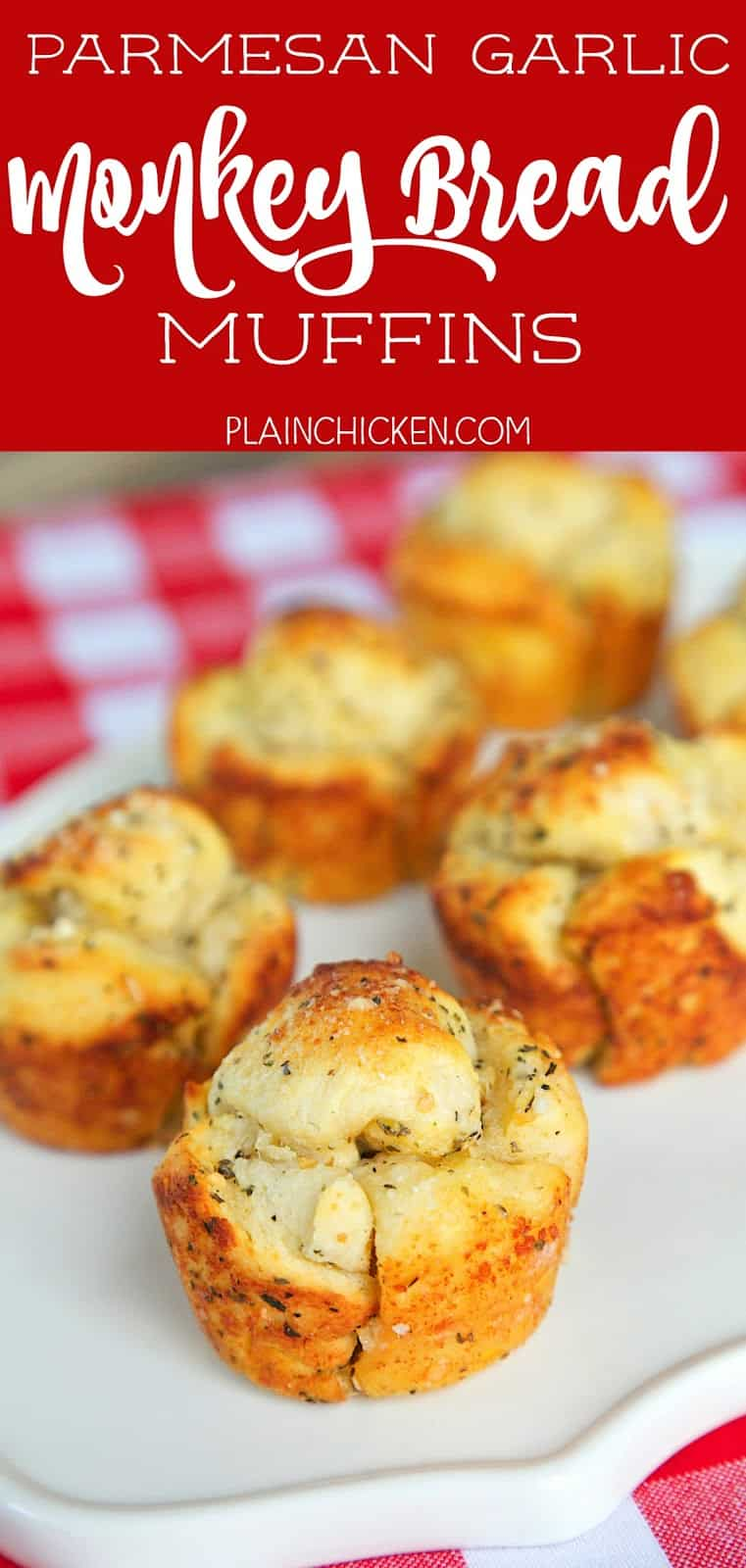 Parmesan Garlic Monkey Bread Muffins - only 5 ingredients and ready in 10 minutes. Refrigerated biscuits, butter, Italian seasoning, garlic and parmesan cheese. We ate way too many of these! SO good!! Serve with some warm pizza sauce!