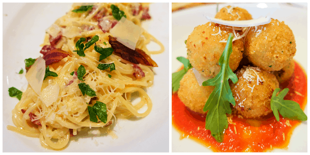 Carbonara and Arancini at Cucina del Capitano aboard the Carnival Sunshine