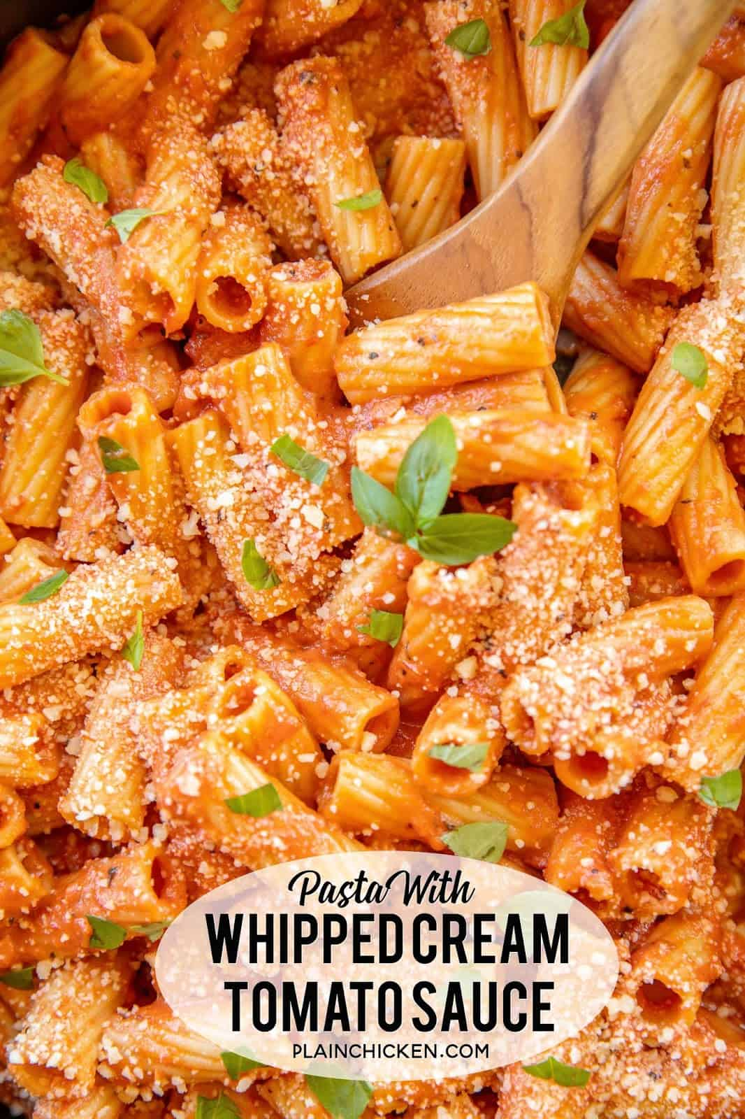 Pasta with Whipped Cream Tomato Sauce - better than any restaurant!! Pancetta, crushed tomatoes, shallots, garlic, pepper, sugar, rigatoni, whipped cream, basil and parmesan. Ready to eat in about 20 minutes! SO easy and everyone LOVES this yummy pasta! #pasta #quick