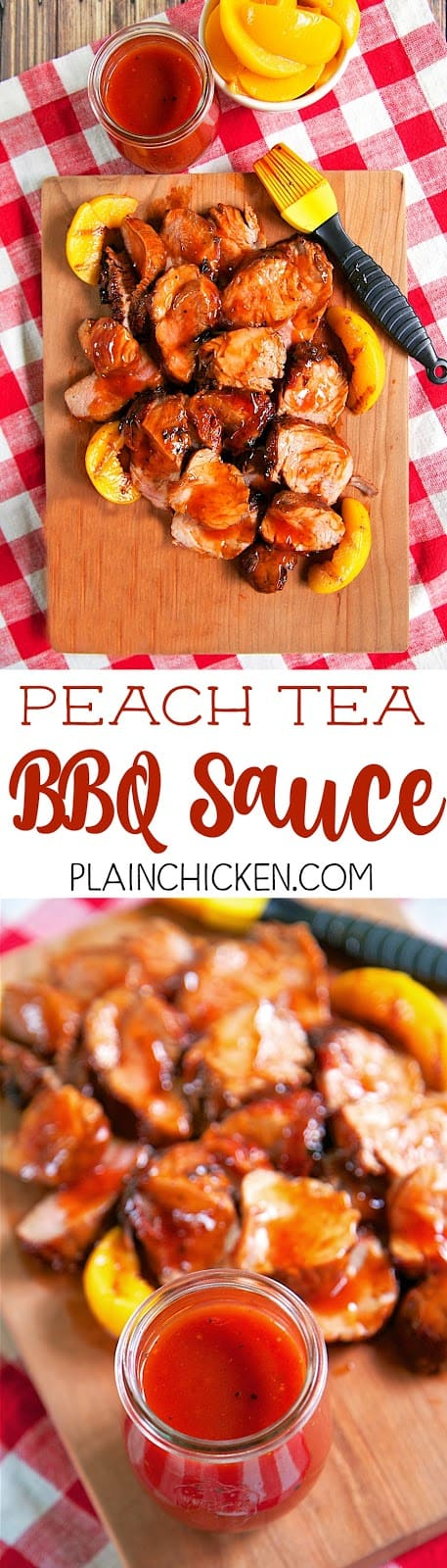 Peach Tea BBQ Sauce - quick homemade BBQ sauce that is ready in 10 minutes! Peach tea , ketchup, cider vinegar, dijon mustard, brown sugar, salt and pepper. BEST BBQ sauce I've ever eaten! LOVE the peach tea! Crazy good! Great on pork, chicken, ribs and smoked sausage.