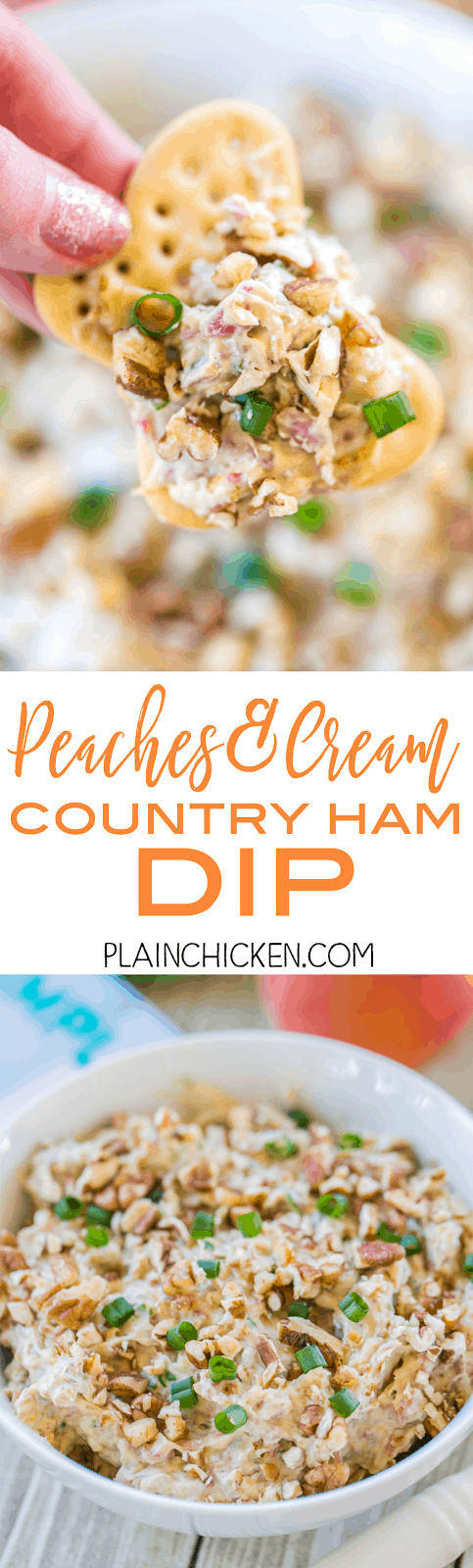 Peaches and Cream Country Ham Dip - so easy to make and it tastes great! Only 6 ingredients! Cream cheese, country ham, dijon mustard, green onions, peach preserves, pecans. Dump everything in the food processor and pulse. Serve with crackers and/or celery. It is always a hit at parties!! Quick, easy, delicious dip recipe.