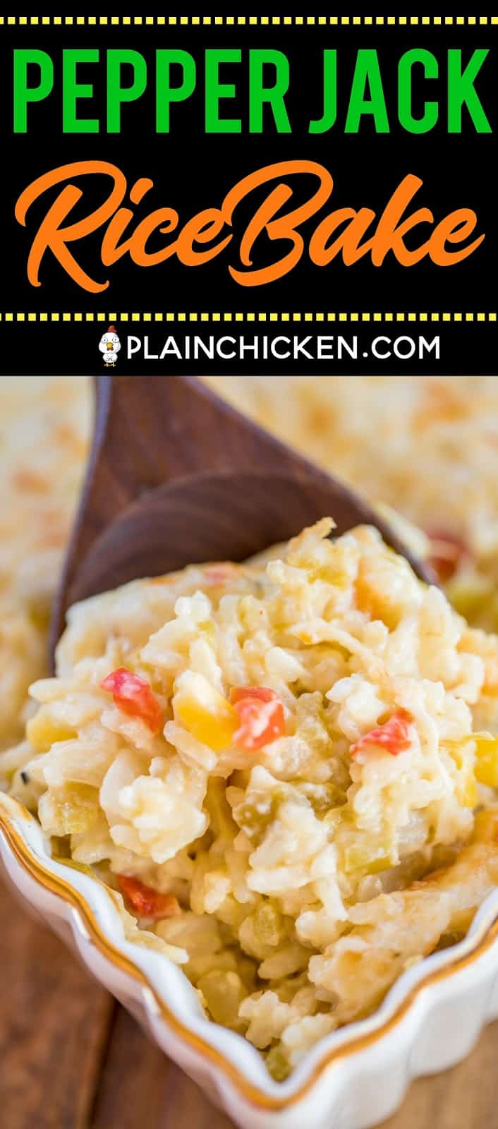 Pepper Jack Rice Bake - CRAZY good!! Cooked rice loaded with onions, red bell pepper, green chiles, corn, cream of celery soup and pepper jack cheese. Can make ahead and freezer for later. Great side dish for all your spring and summer grilling!! #casserole #sidedish #freezermeal #vegetarian