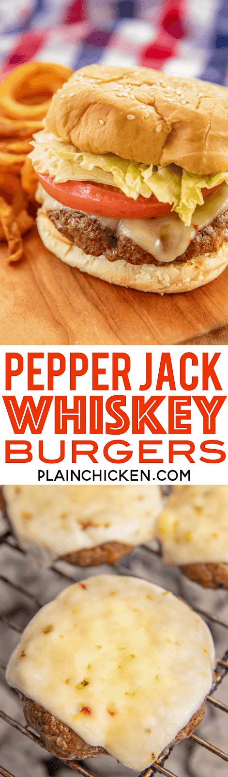 Pepper Jack Whiskey Burgers - seriously delicious! Ground beef, garlic salt, Worcestershire sauce, chili powder and a shot of whiskey. Top with sliced pepper jack cheese. Made these at our cookout and everyone asked for the recipe! Can make ahead of time and freeze patties for later. YUM! #grill #burgers #tailgating #freezermeal #beef