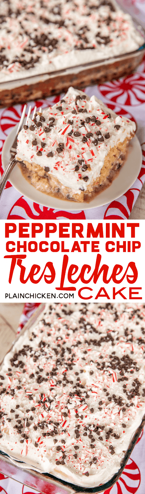 Peppermint Chocolate Chip Tres Leches Cake - dangerously delicious! Great for all your upcoming holiday parties!! Yellow cake mixed baked with candy canes and chocolate chips then soaked in three milks - sweetened condensed milk, half-and-half and evaporated milk. Top cake with whipped cream and more candy canes and chocolate chips. We could not stop eating this delicious cake! #dessert #peppermint #chocolatechips #candycakes #cake