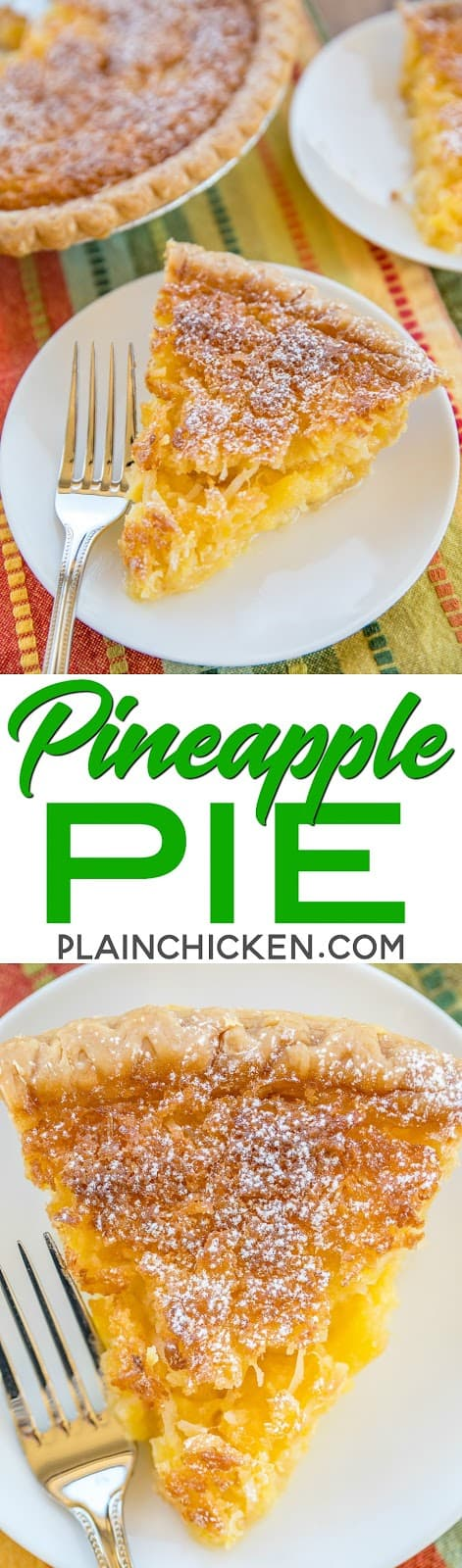 Pineapple Pie - Pineapple Coconut Chess Pie - so easy and it tastes fantastic!! Great for parties and potlucks! Crushed pineapple, coconut, butter, cornmeal, flour, vanilla, sugar and eggs. Can serve warm or cold with whipped cream or vanilla ice cream. There are never any leftovers!!! SO good! #pie #dessert #pineapple #dessertrecipe