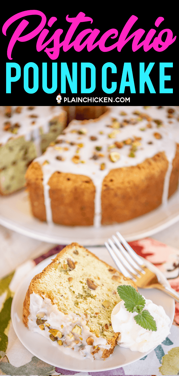 slice of pound cake on a plate with cake in background