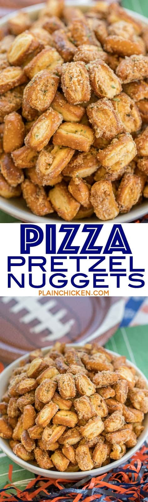 Pizza Pretzel Nuggets - only 4 ingredients!! Tastes like pizza!! Great for tailgating and parties. Can make ahead and store in an air-tight container for later. Will keep for several weeks. Everyone LOVES this easy appetizer recipe!!