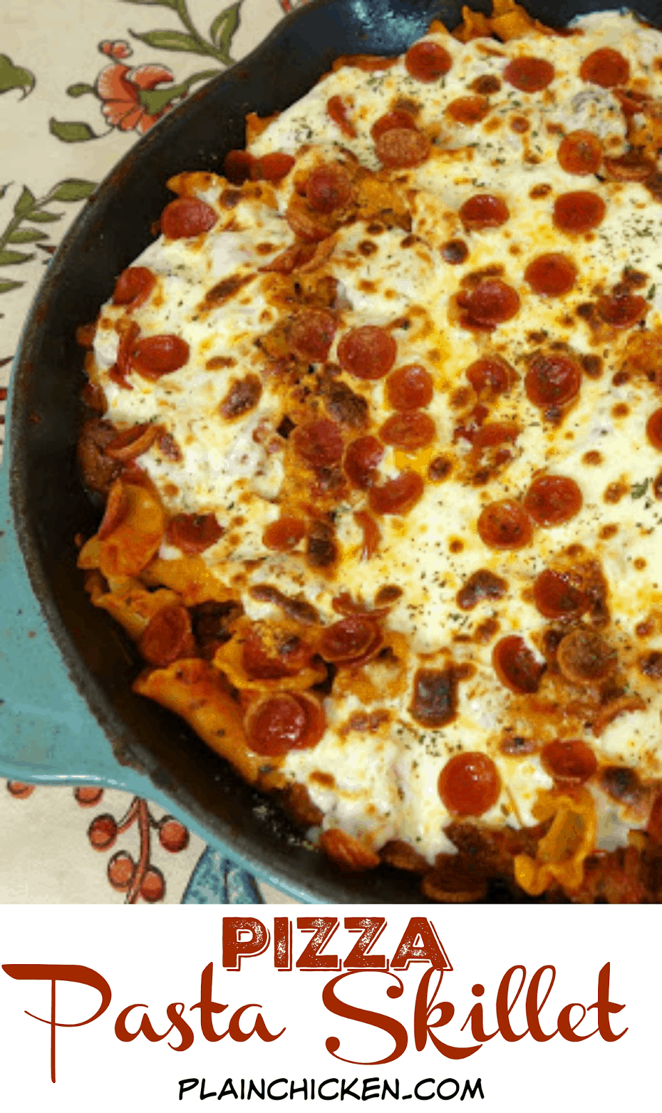 Pizza Pasta Skillet - sausage, pepperoni, mushrooms, pasta, sauce and cheese - ready in 15 minutes! Quick and easy weeknight meal!