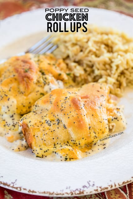 Poppy Seed Chicken Roll Ups - heaven in a pan!! Chicken and cream cheese wrapped in crescent rolls and topped cream of chicken soup, milk, cheese and poppy seeds. These are on the menu at least once a month! Everyone gobbles these up - we never have any leftovers. Our family's favorite chicken casserole!!