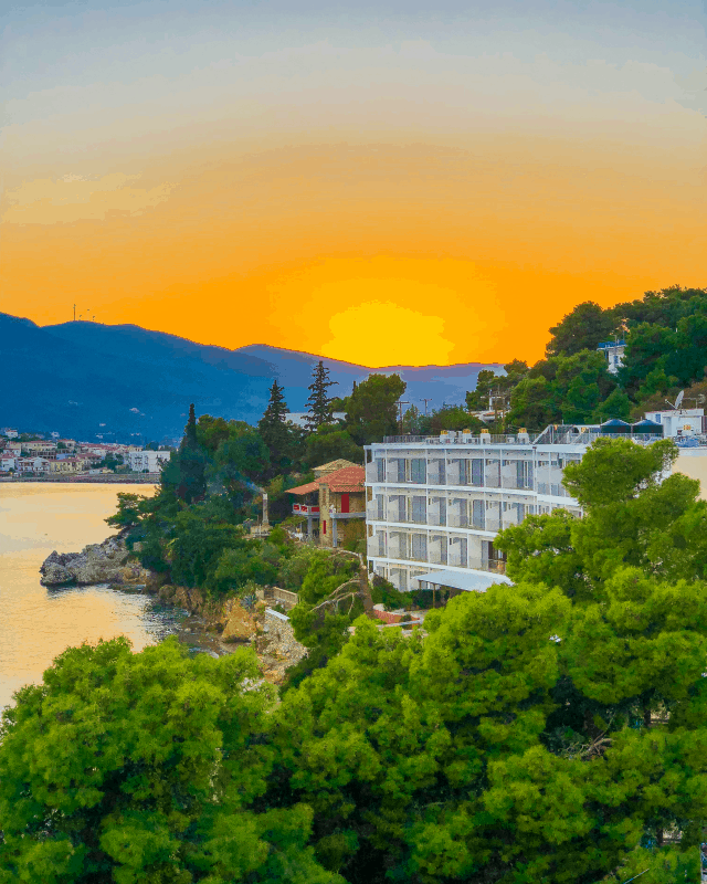 sunset at New Ageli Resort and Hotel Poros Greece