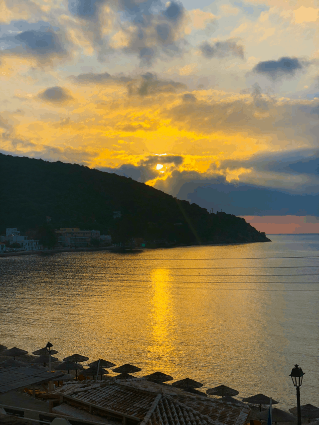 sunrise at New Ageli Resort and Hotel Poros Greece
