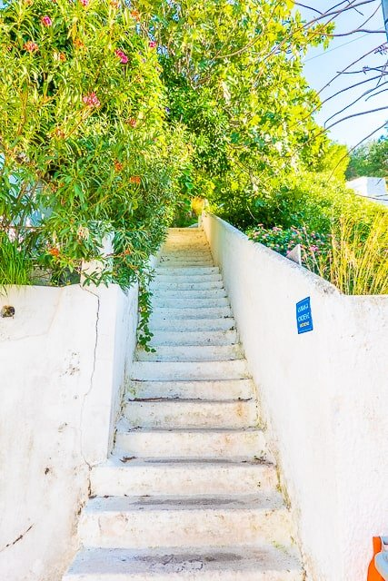 Stairs to Clock Tower in Poros Greece