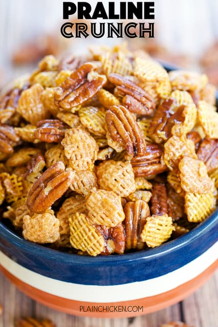 bowl of pecan snack mix