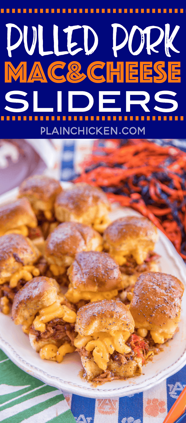 Pulled Pork Mac and Cheese Sliders recipe - CRAZY good! I took these to a party and they were gone in a blink of an eye!!! Slow cooked pulled pork on Hawaiian rolls topped with macaroni and cheese, bbq sauce and a sweet and savory butter sauce. These sandwiches are THE BEST!!!! Pulled pork, store-bought mac and cheese, Hawaiian rolls, bbq sauce, butter, brown sugar, dijon mustard, Worcestershire sauce and poppy seeds. YUM! #pulledpork #ohpork #sandwiches #macandcheese