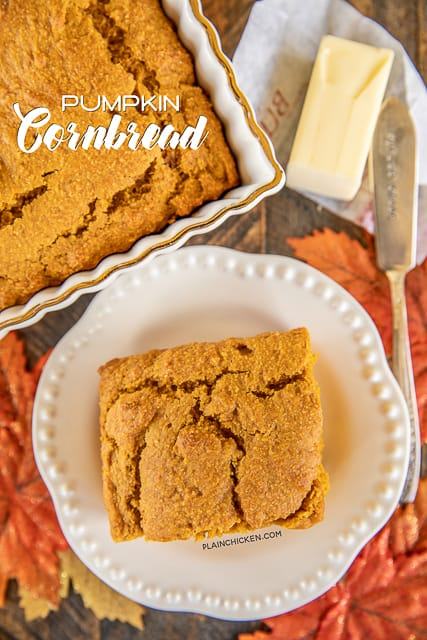 pumpkin cornbread on a plate
