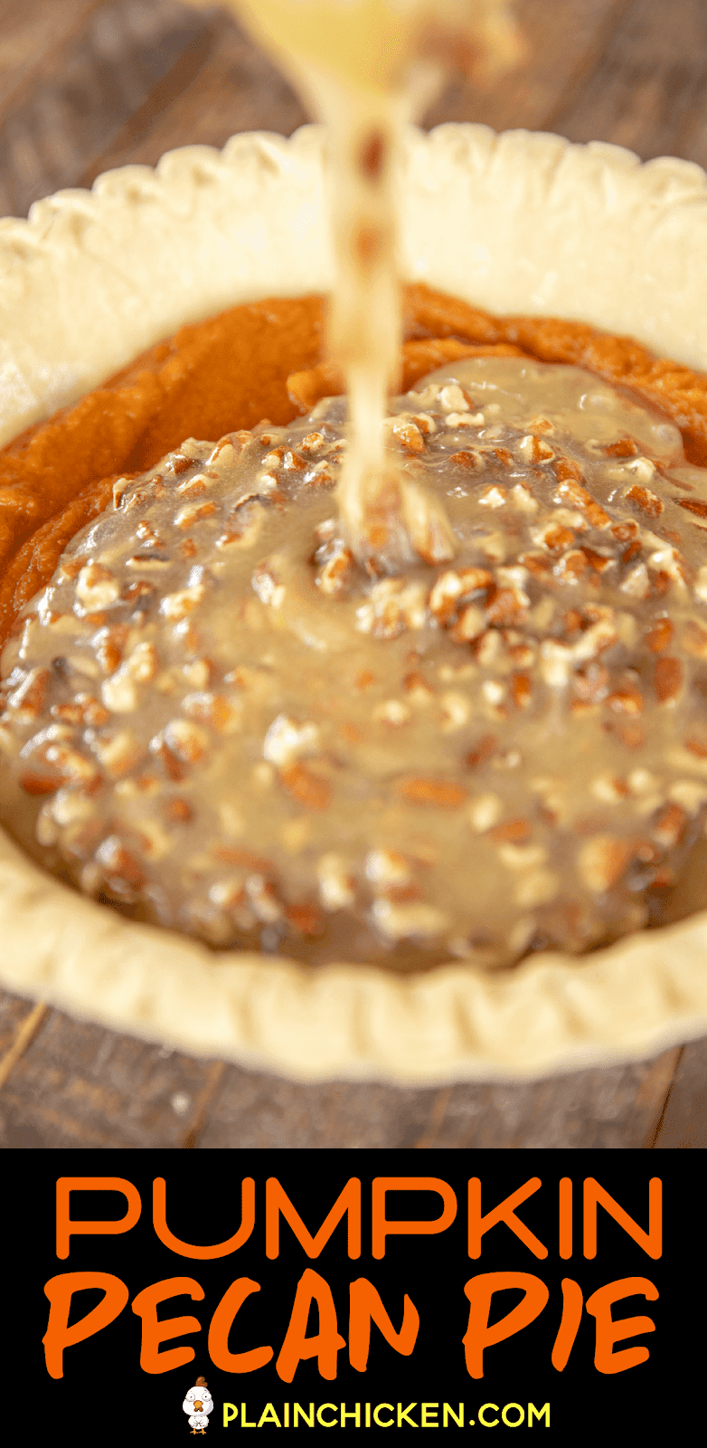 pouring filling into pie crust
