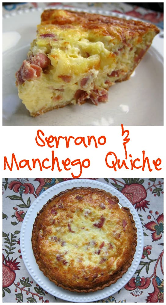 Serrano & Manchego Quiche Recipe - delicious quiche filled with serrano ham and manchego cheese (Spanish ham and cheese) - great flavors. Perfect for breakfast, lunch or dinner. Can make ahead and freeze unbaked.