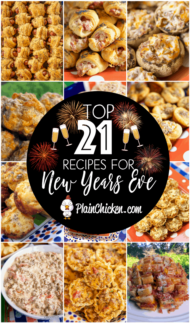 21 New Year's Eve Party Recipes - so many delicious recipes for your party! Most can be made ahead of time for easy entertaining! Sausage balls, finger foods, dips, chicken fingers, sandwich pinwheels. There is something for everyone on this list! #newyearseve #partyfood