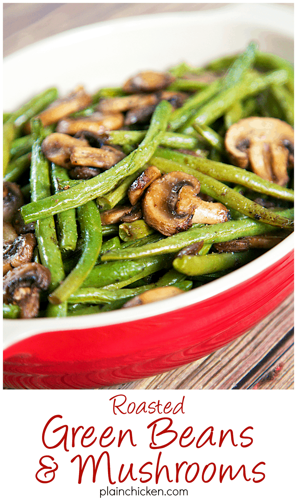 Roasted Green Beans and Mushrooms Recipe - fresh green beans and mushrooms tossed in olive oil, balsamic, garlic salt, pepper and baked. SO simple and SOOO delicious! Ready in about 20 minutes.