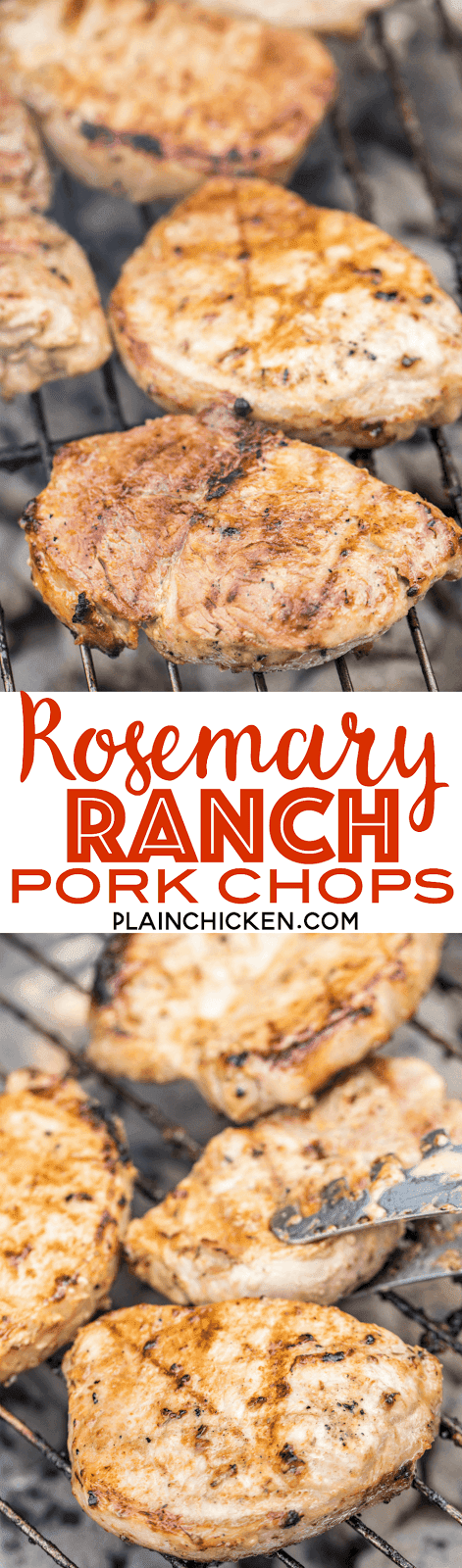 Rosemary Ranch Pork Chops - seriously delicious! Super easy and packed full of AMAZING flavor!! Best pork chop I've ever eaten!! Let the pork chops marinate overnight for maximum flavor! Only a few simple ingredients for an incredible dinner!! Pork chops, olive oil, Ranch dressing, rosemary, garlic, Worcestershire sauce salt, pepper and sugar. We made these pork chops twice in one week! SO good! Make them ASAP!