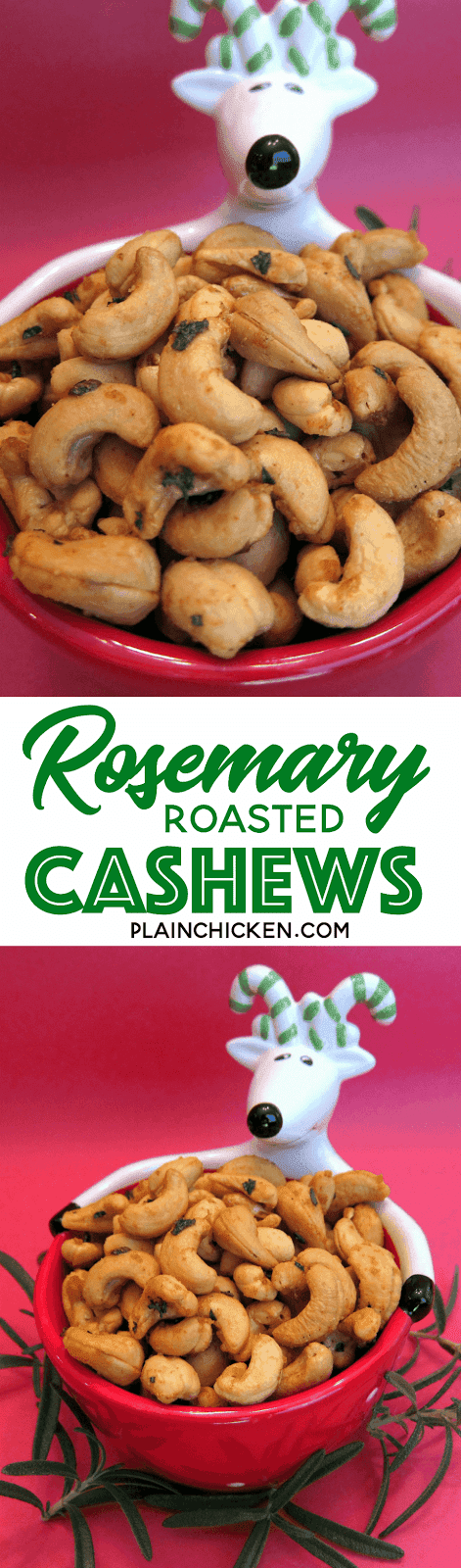 Rosemary Roasted Cashews - so easy and CRAZY good! Only 5 ingredients - cashews, rosemary, cayenne, butter and brown sugar. Ready in 10 minutes. Great for parties! Also makes a great homemade gift. #partyfood #cashews #partynuts