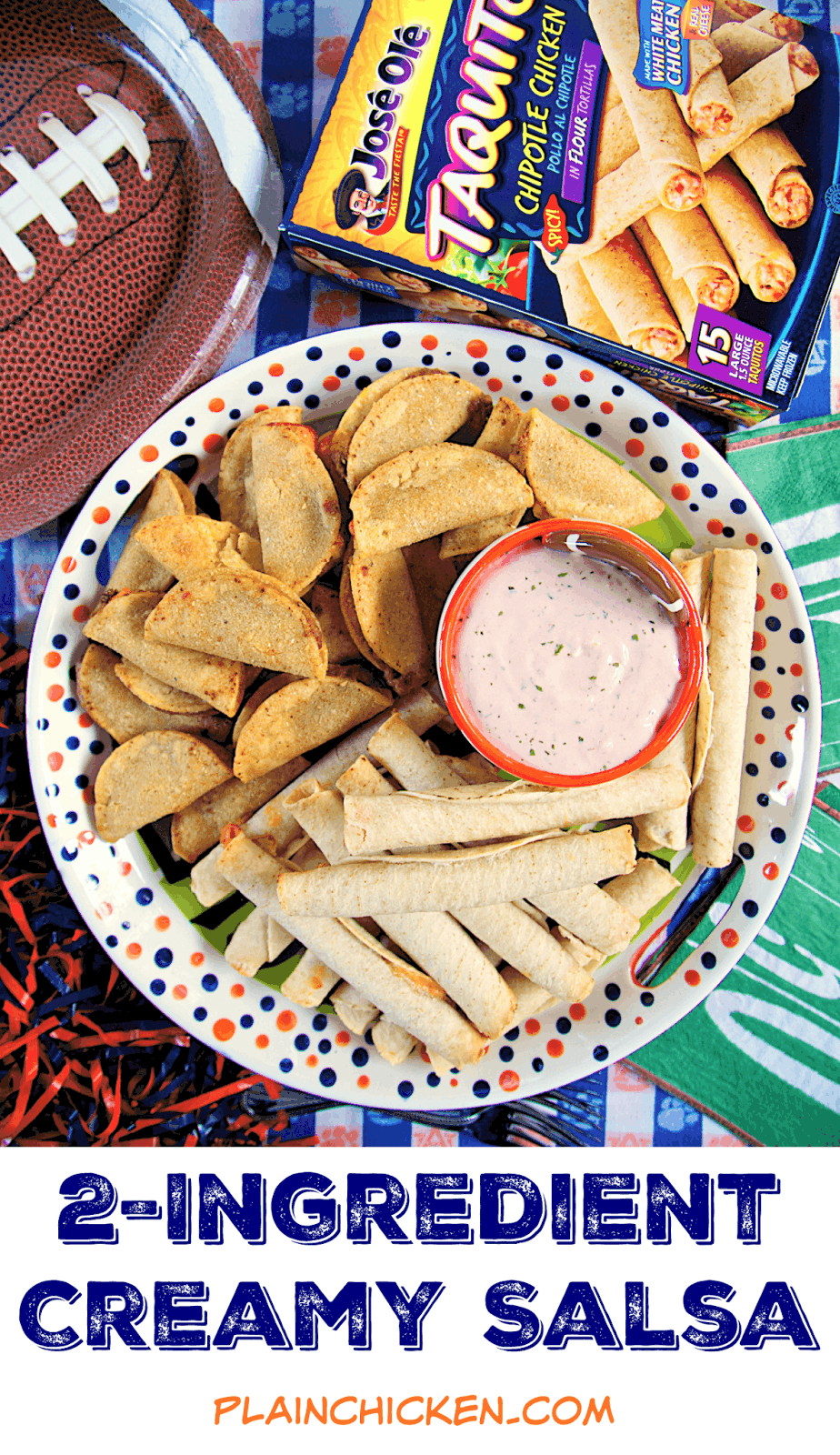 2-Ingredient Creamy Salsa Dip - literally takes 1 minute to make! I am totally addicted to this dip!!Pair with some José Olé frozen snacks for an easy tailgating feast! Also great on a salad or on top of a baked potato.