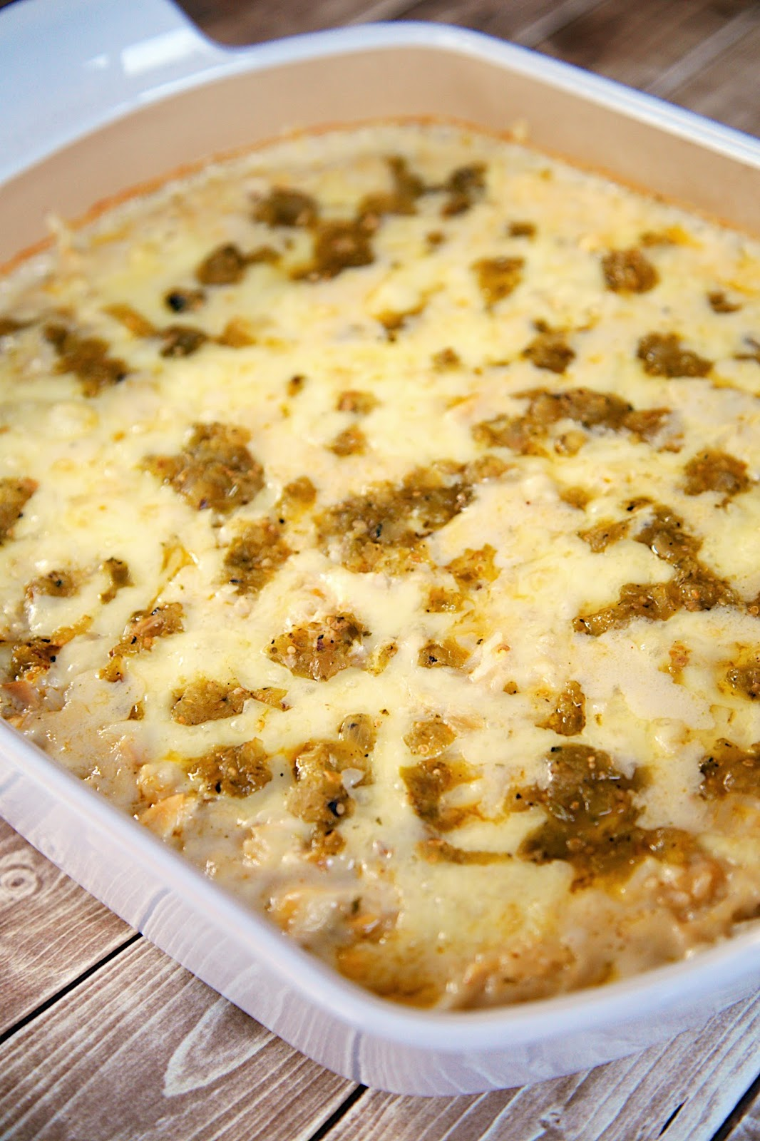 Salsa Verde Chicken and Rice Bake Recipe - chicken, cheese and rice tossed in a creamy salsa verde sour cream sauce. Ready in 20 minutes! No cream of anything soup!! We gobbled this up! Quick and delicious Mexican recipe.