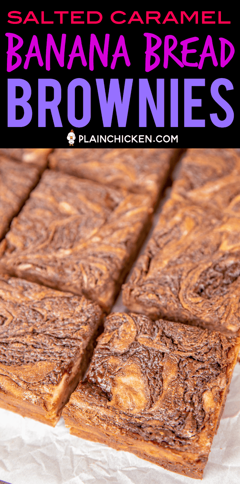 Salted Caramel Banana Bread Brownies